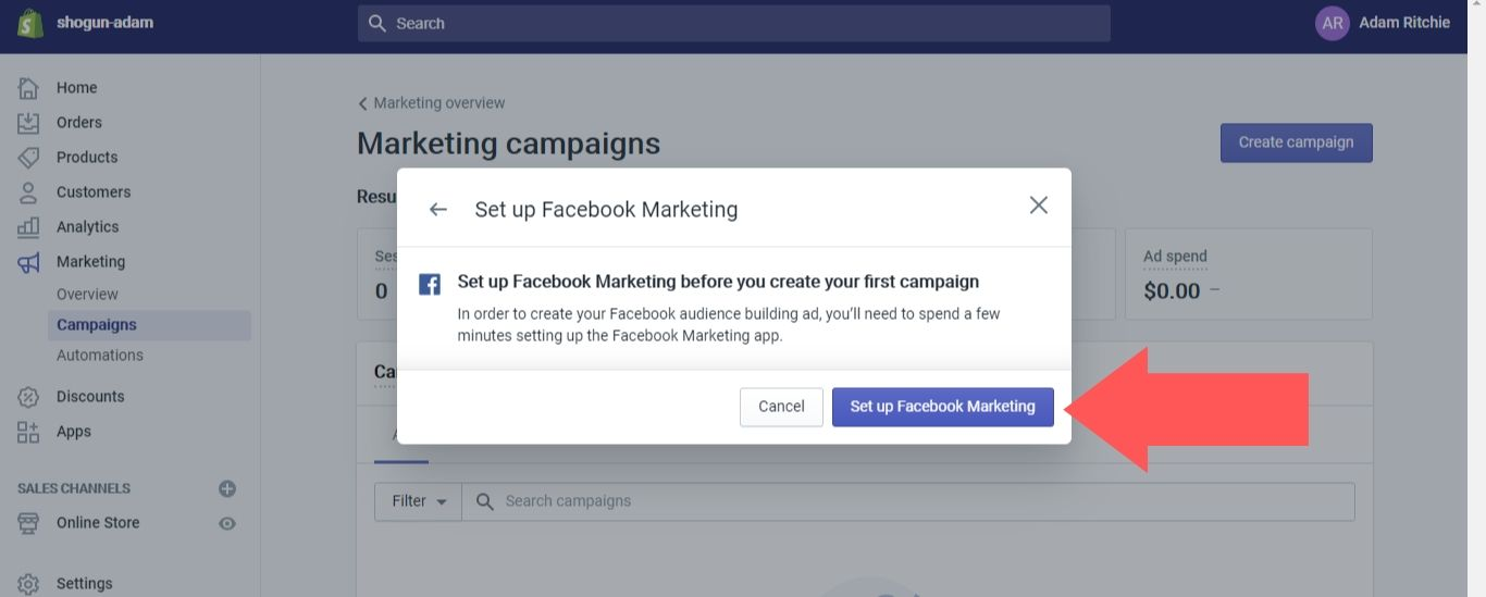 """Click on the """"Set up Facebook Marketing"""" button"""