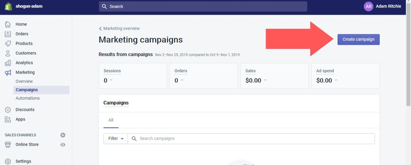 """Select """"Campaigns"""" in the dropdown options under """"Marketing"""", then click on the """"Create campaign"""" button"""