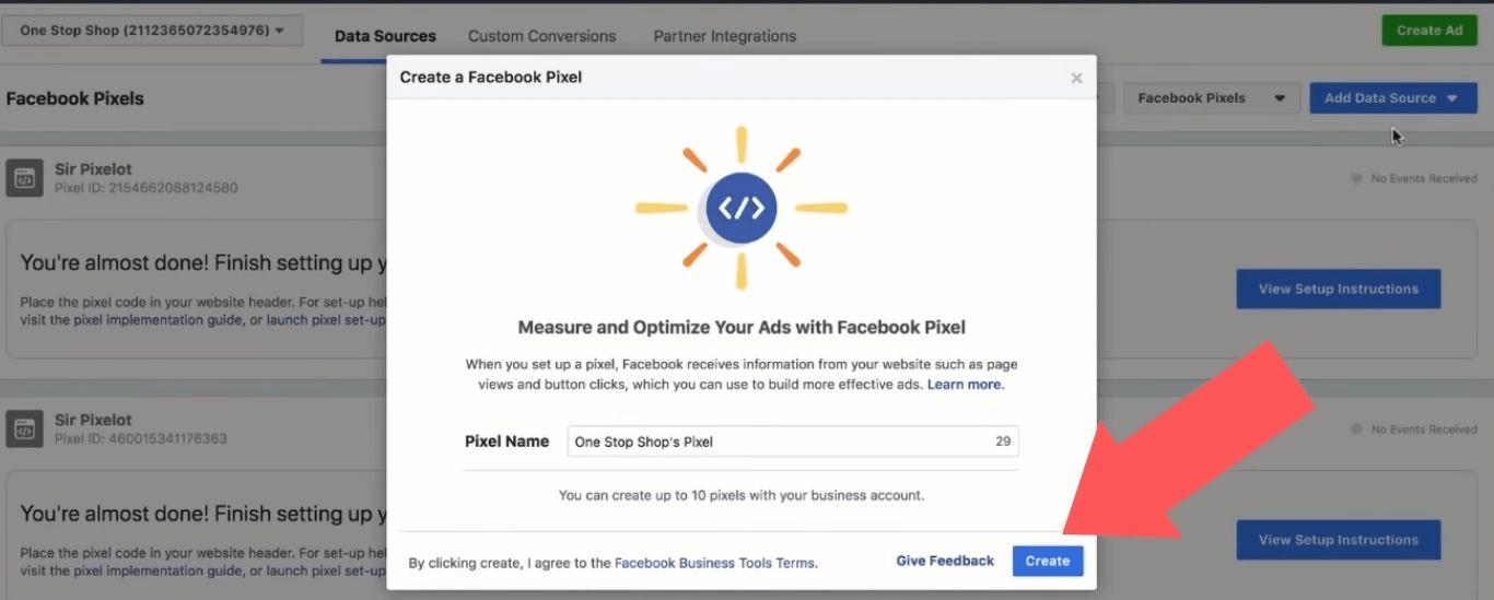 Create a Facebook Pixel button