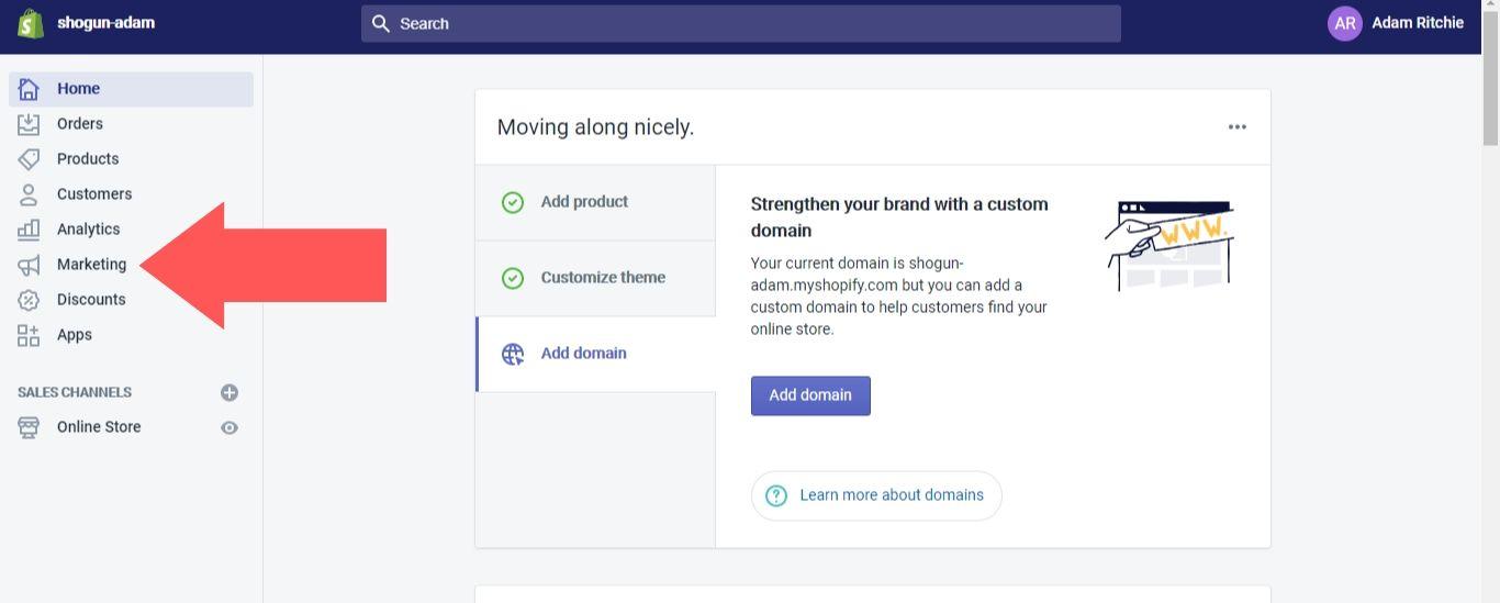 Shopify account dashboard