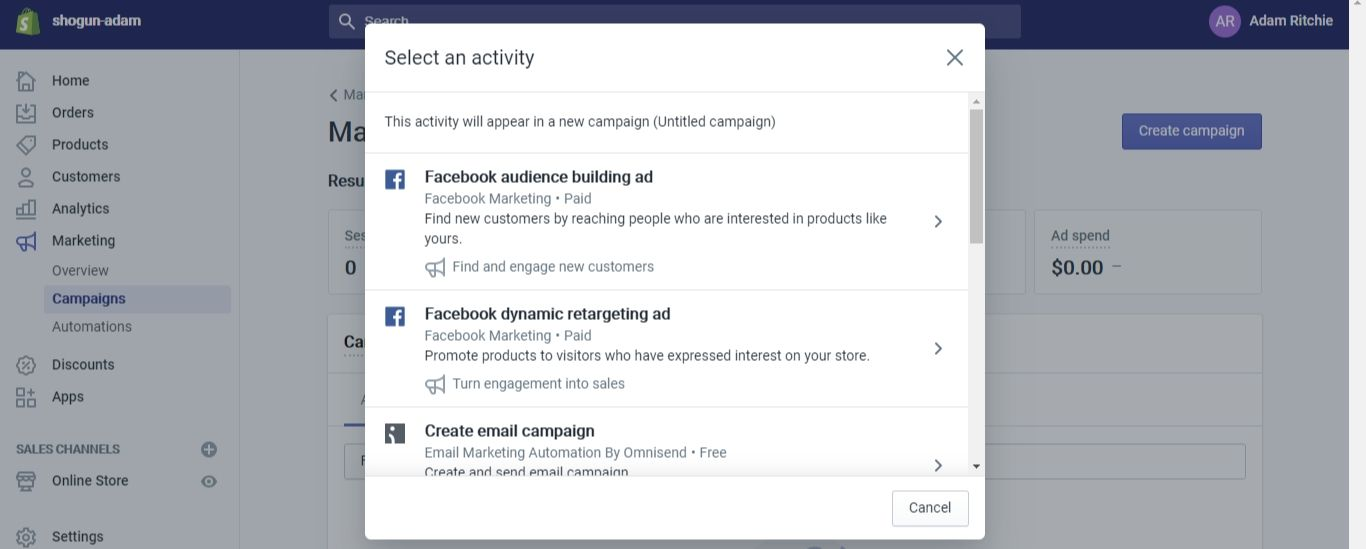 """Select either """"Facebook audience building ad"""" or """"Facebook dynamic retargeting ad"""" (we'll go over the difference between these two options a bit further down in this guide)"""
