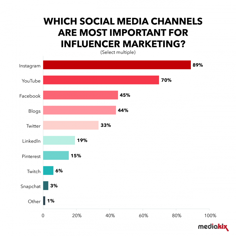 Important influencer marketing channels
