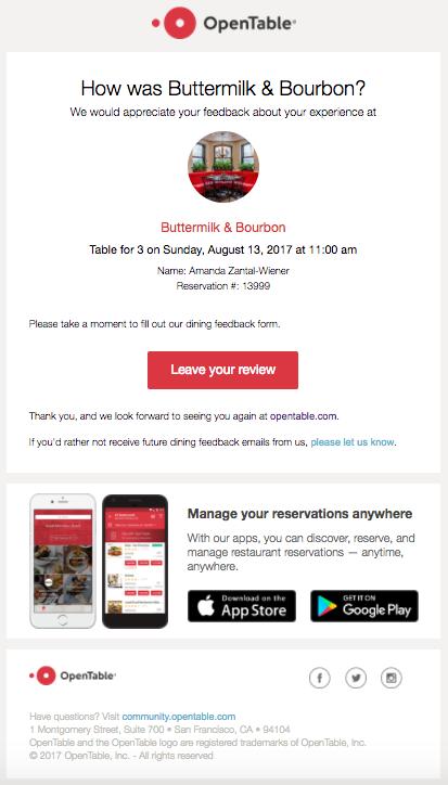 example of a personalized opentable email