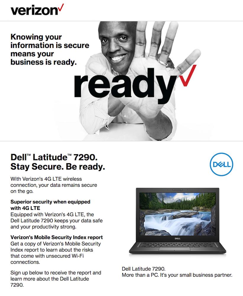 Verizon landing page copy