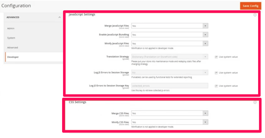 JavaScript and CSS Settings