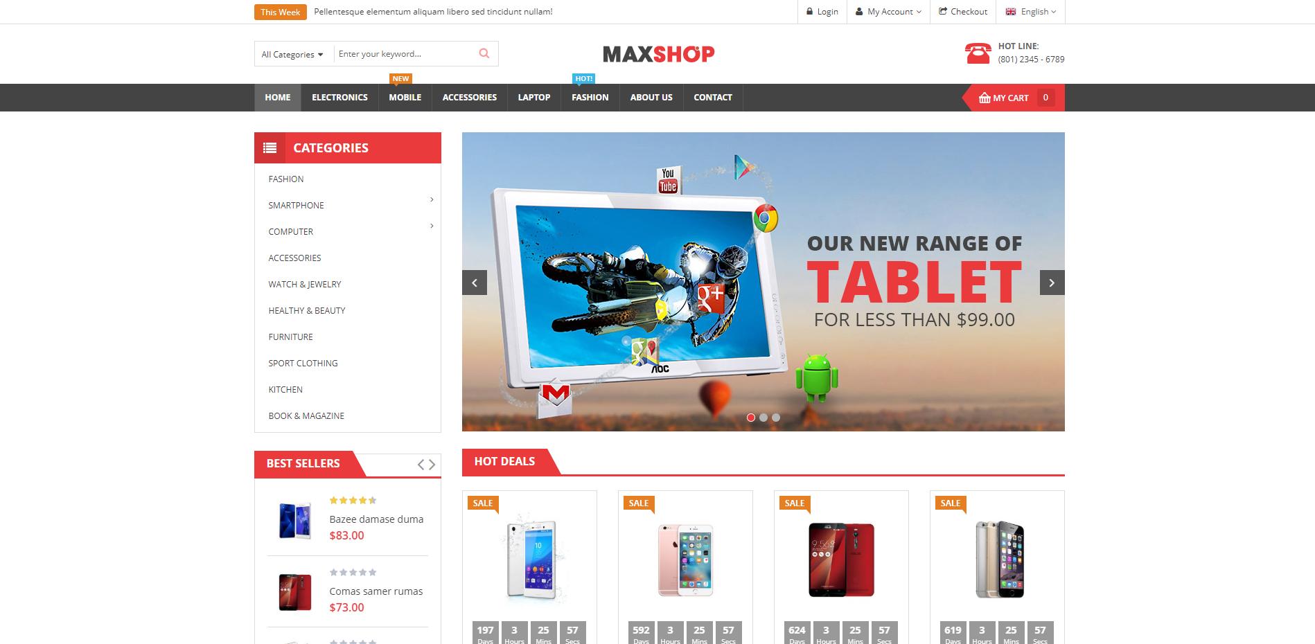 maxshop theme homepage