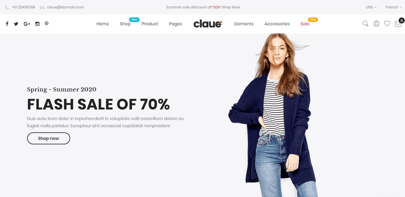 Claue theme homepage
