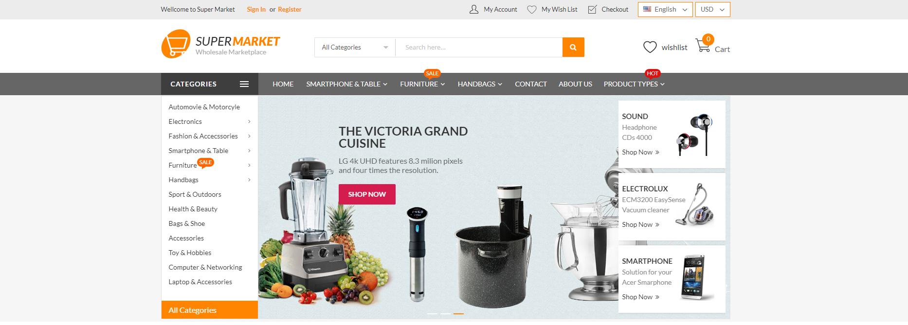 Supermarket theme homepage