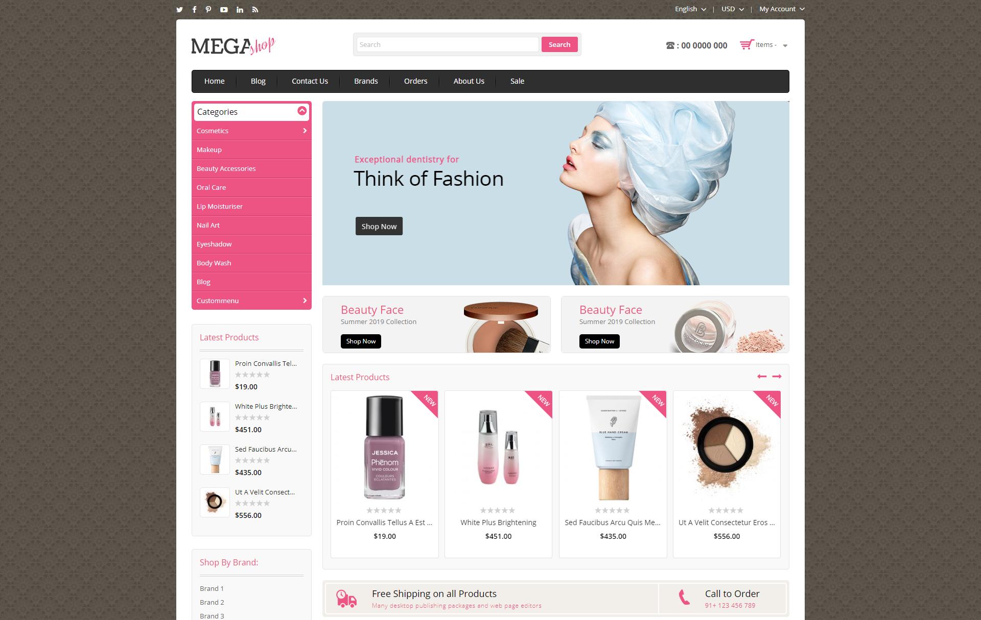 mega shop theme homepage
