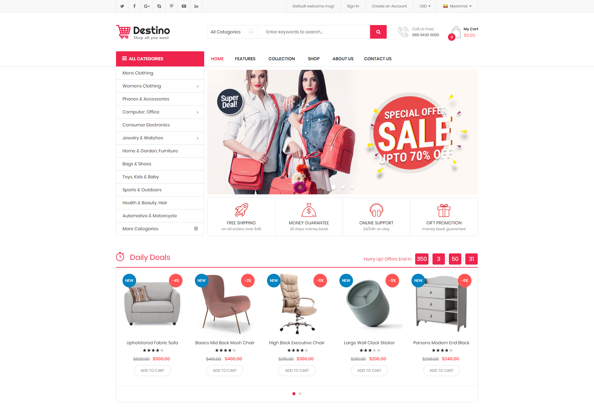 destino theme homepage