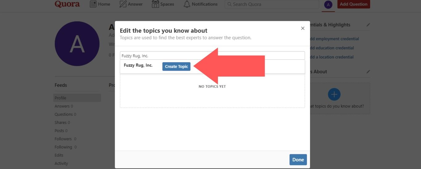 "Enter the name of your business into the search field. Then, click on the ""Create Topic"" button"