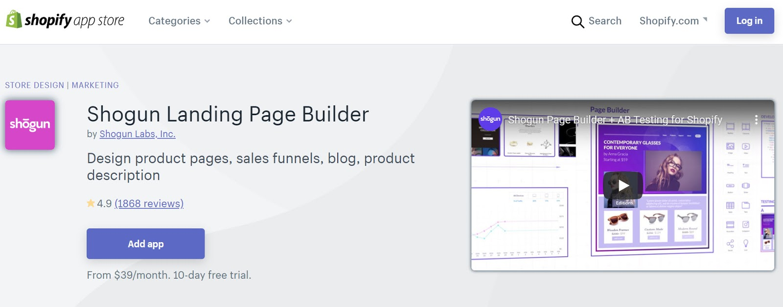 Shogun Landing Page Builder on the Shopify App Store