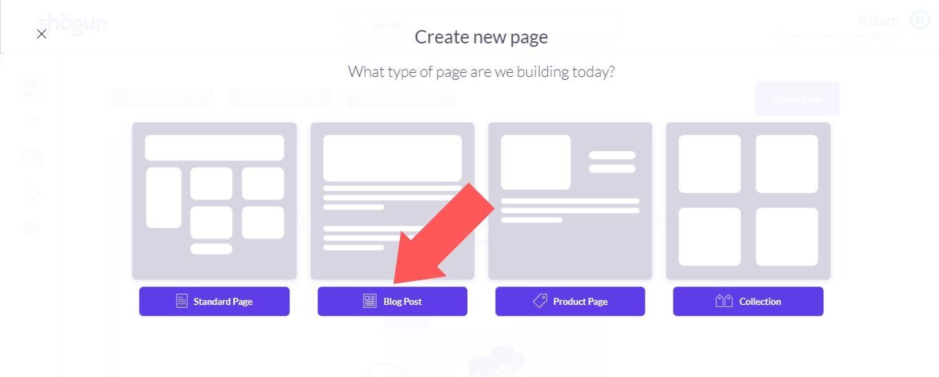 """Select """"Blog Post"""""""