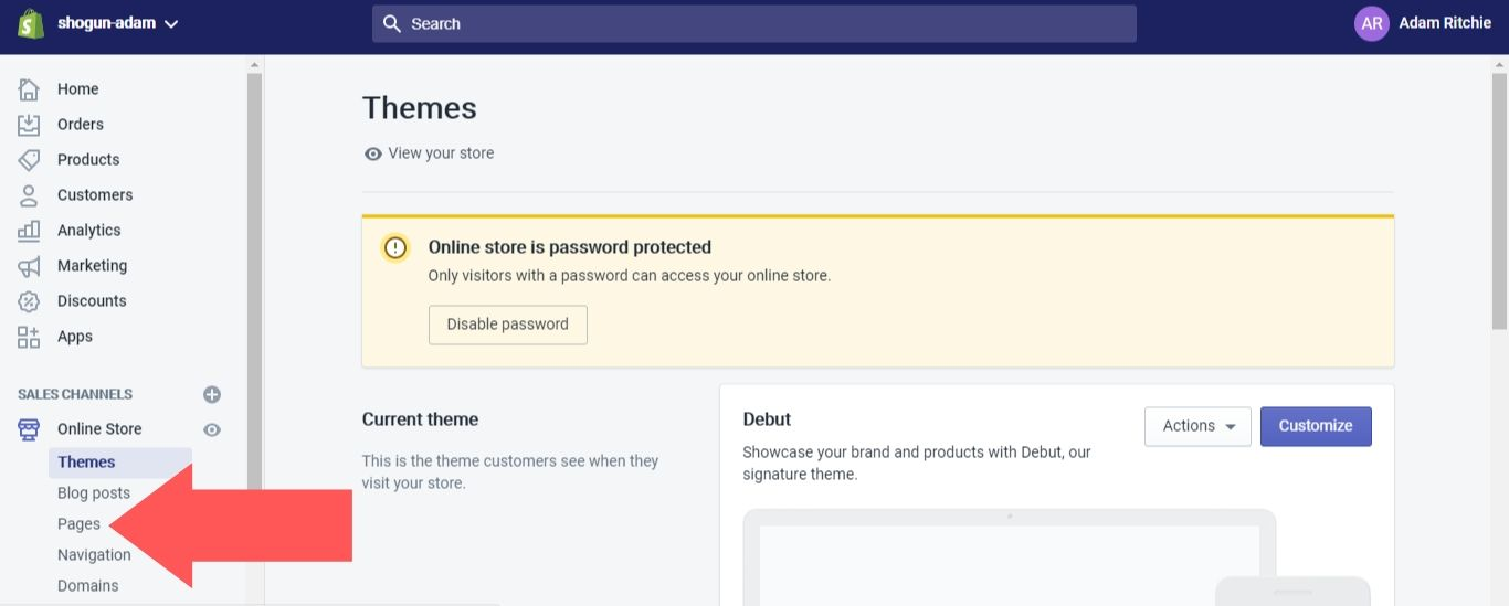 Log into your Shopify admin dashboard
