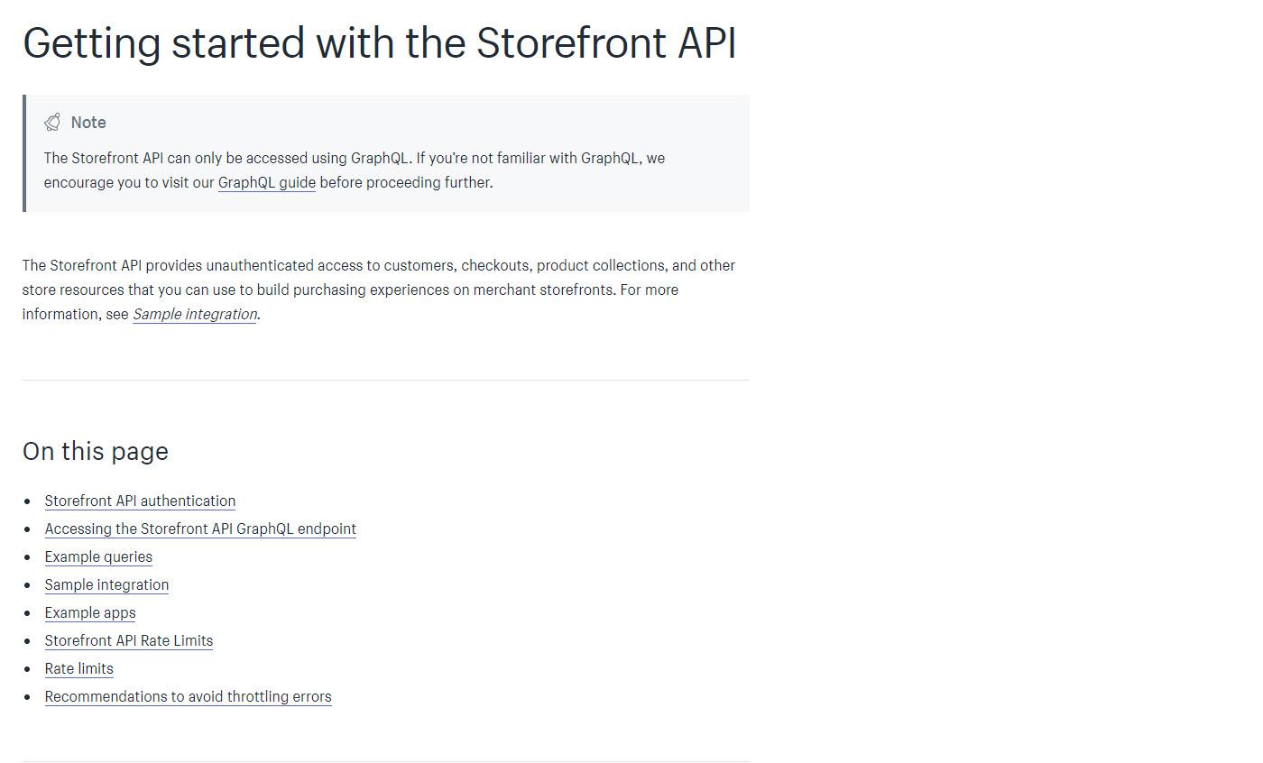 storefront API
