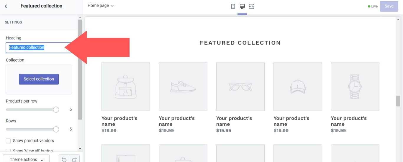 Collection headings in Shopify