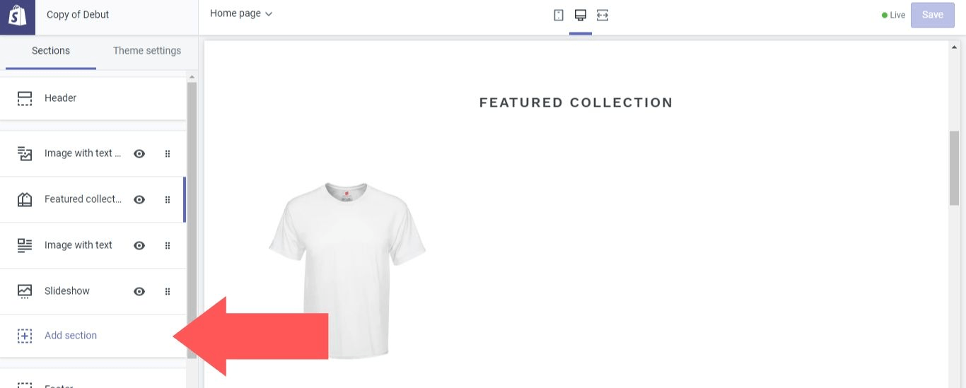 "Select ""Add section"" in Shopify"