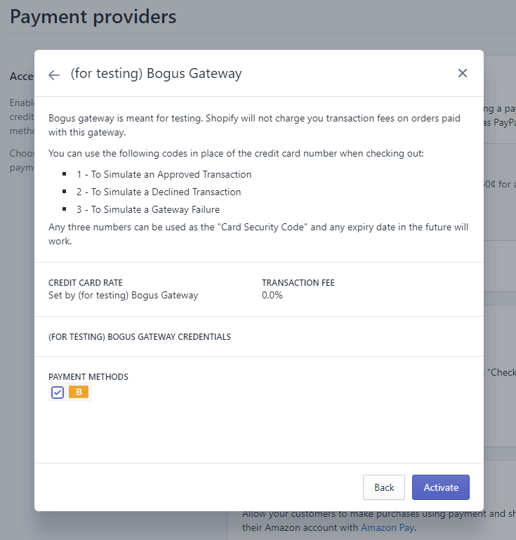 "The next screen will provide instruction on how to use this ""payment method"" for your Shopify test order, and since it's recognized as a fake method by Shopify's systems, you won't be charged any transaction fees"