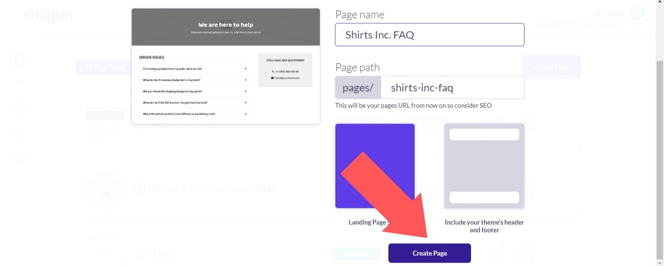 """Select """"Create Page"""""""