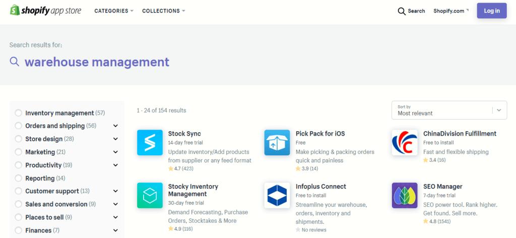 Warehouse management apps