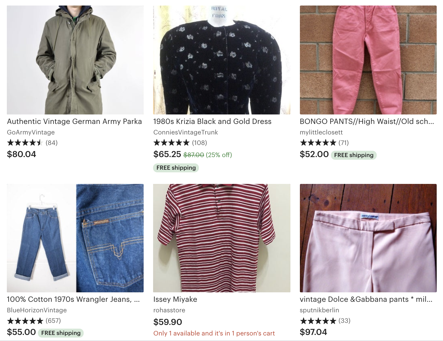examples of vintage clothing on Etsy