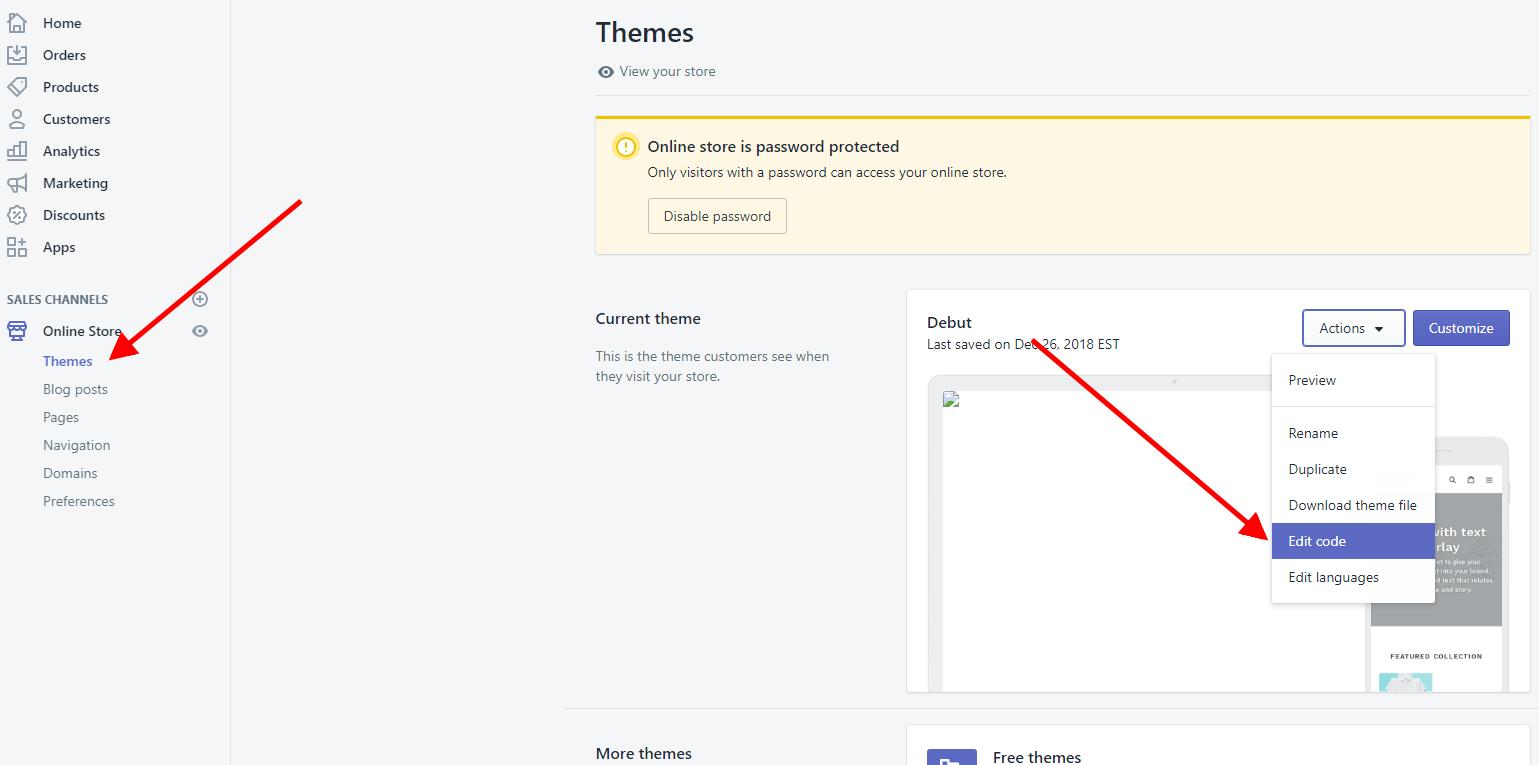Select Edit code