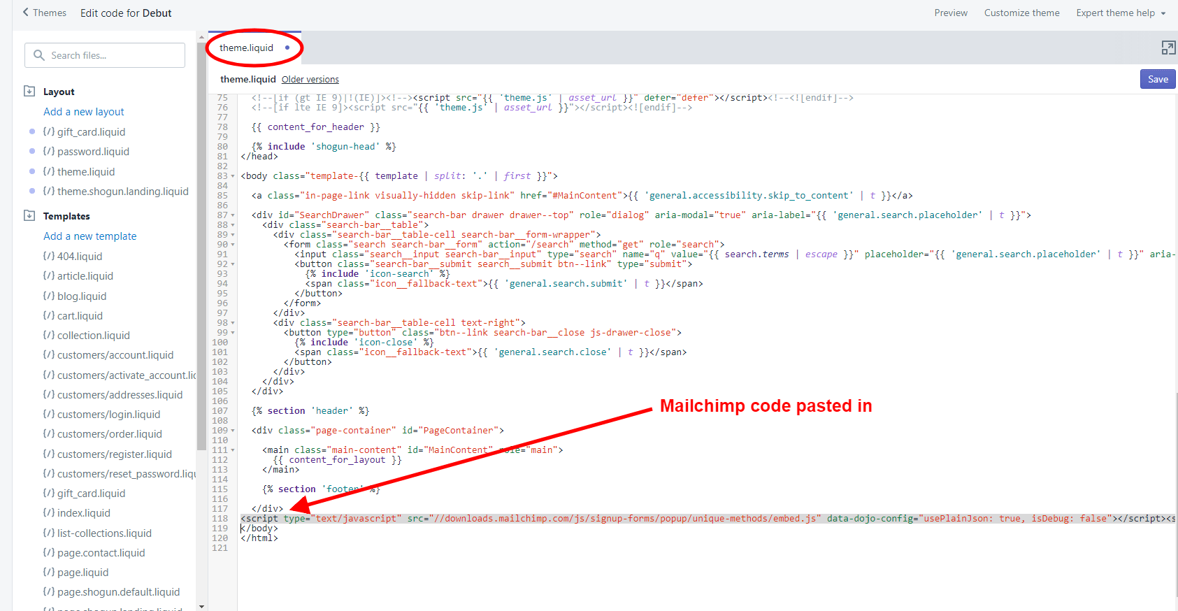 Scroll to the bottom of the code and you'll paste in the Mailchimp popup code right before the </body> tag