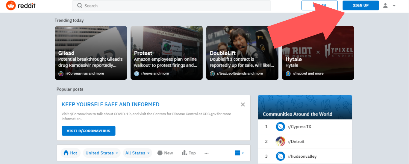 """Select """"SIGN UP"""" on the reddit homepage"""