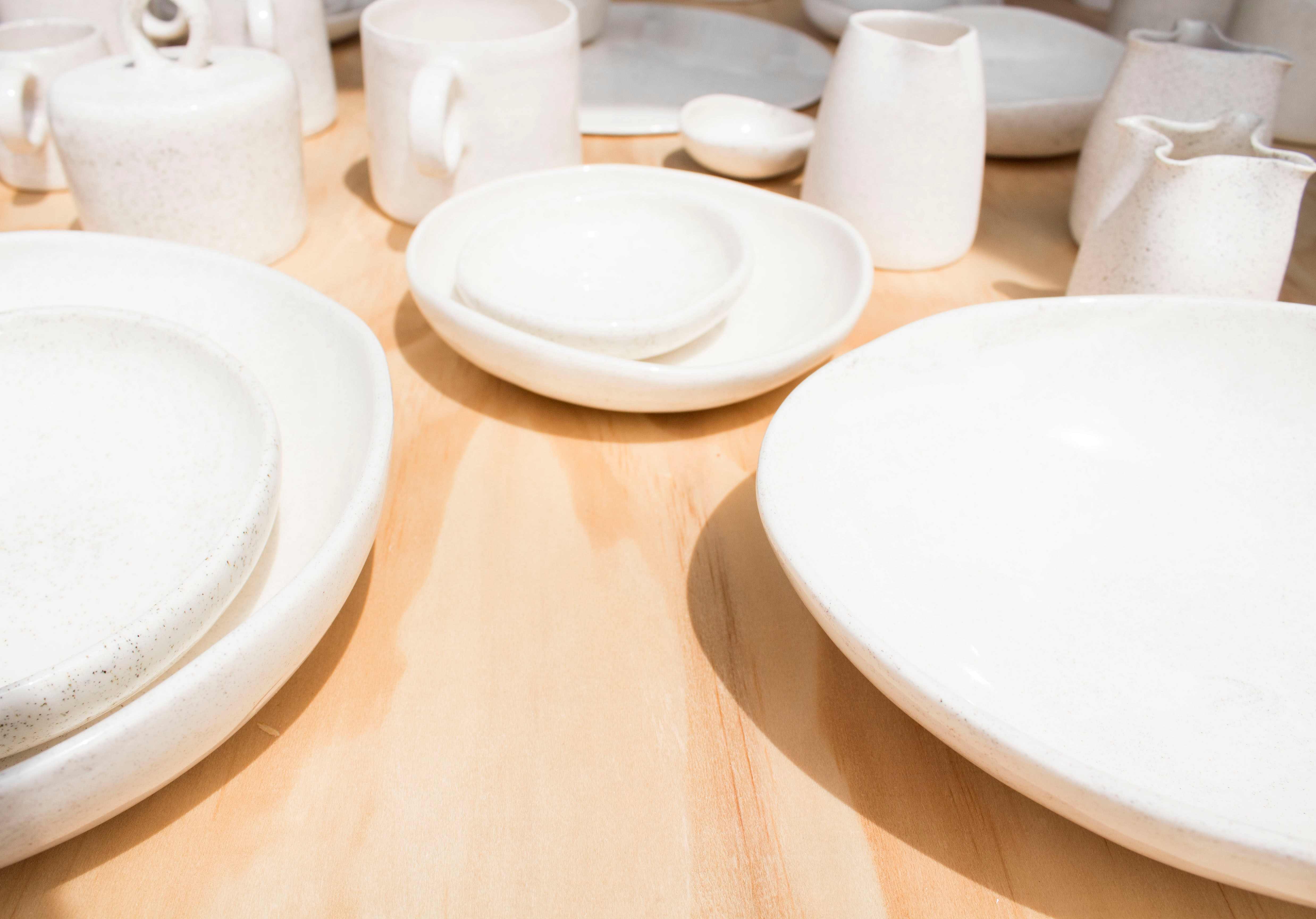 decorative white plates