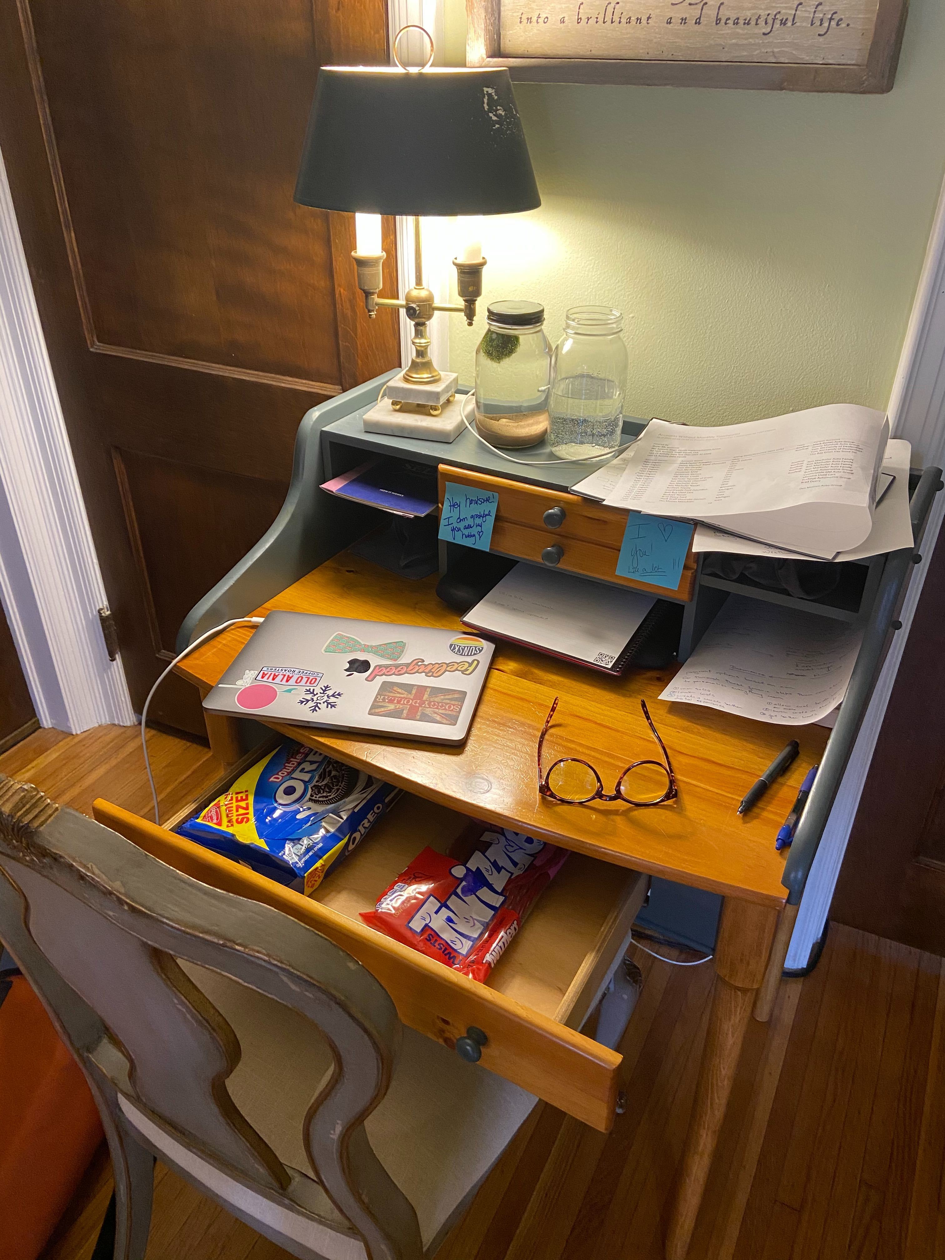 vintage desk turned into a work desk