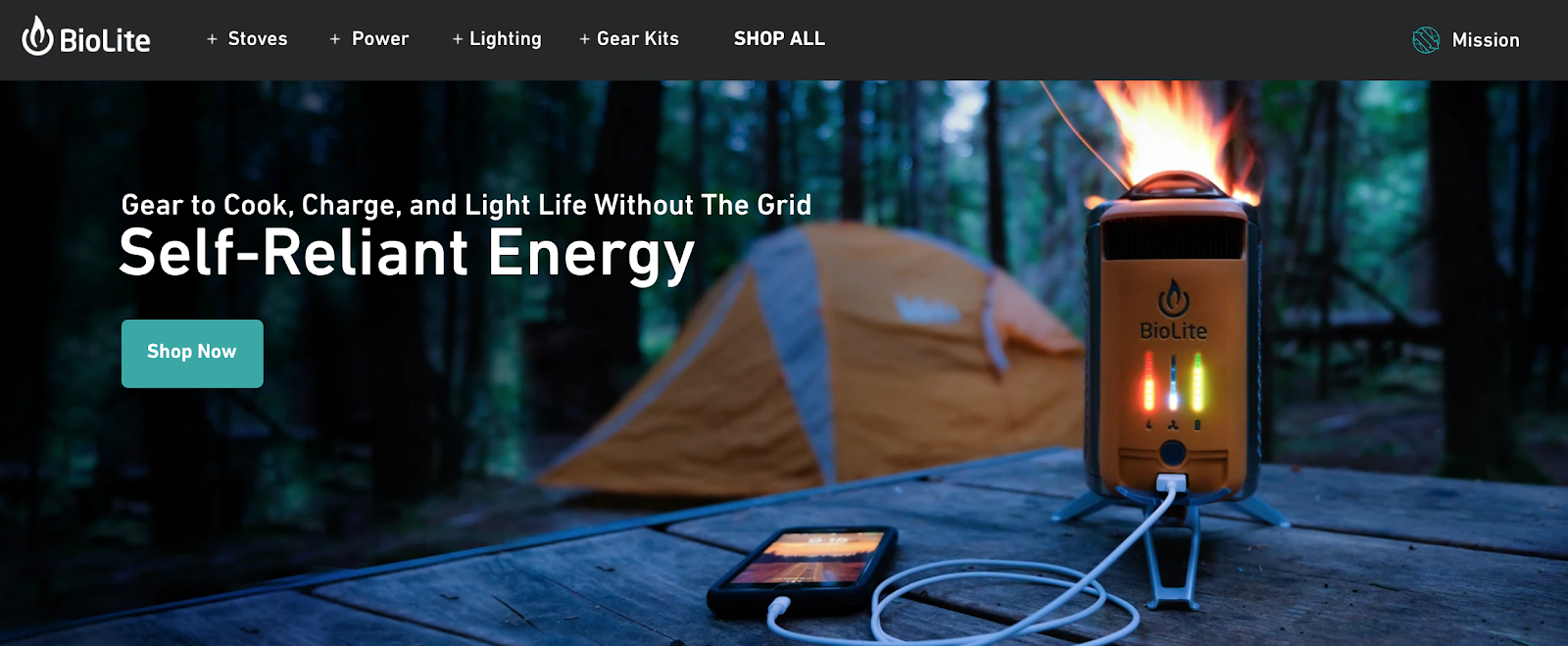 Biolite homepage with tent and BioLite charger in the background