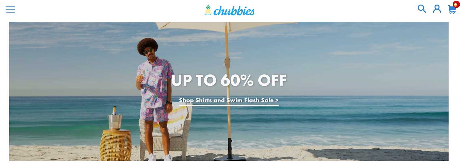 Chubbies homepage with a man on the beach in the background