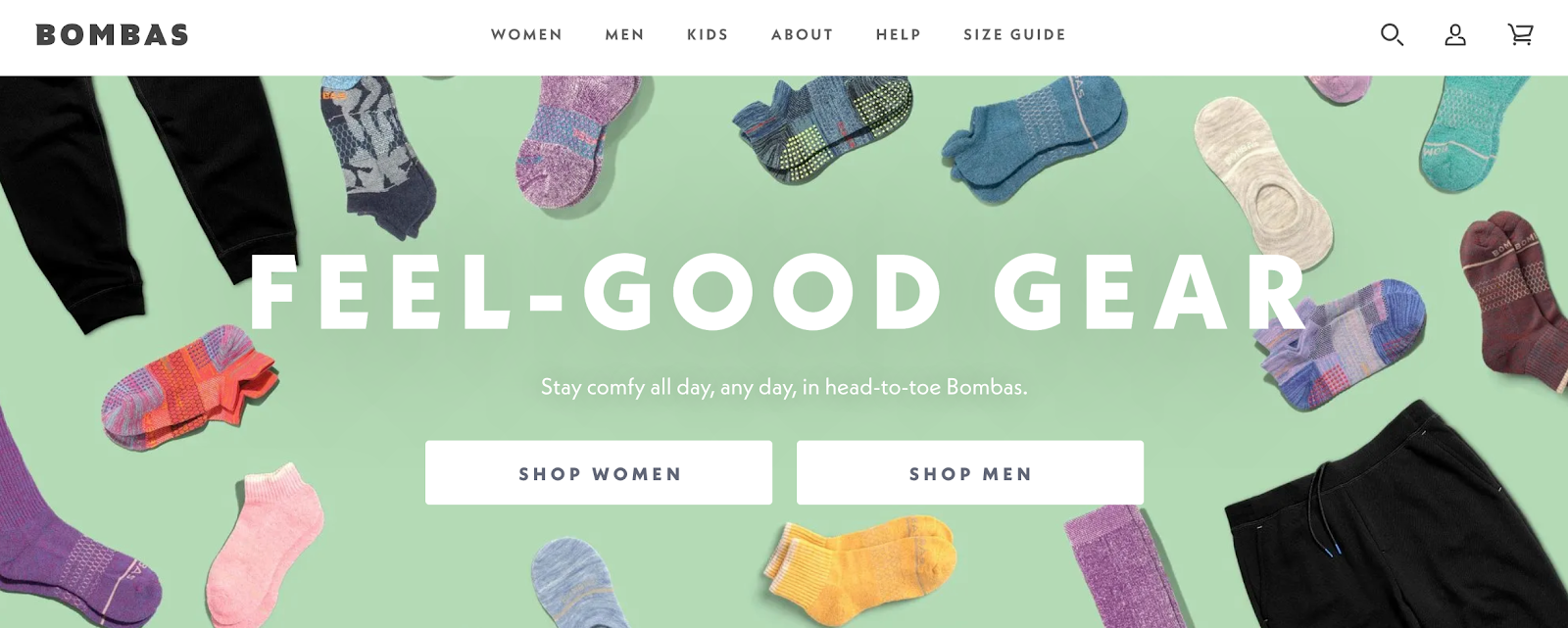 Bombas homepage with various sample socks in the background