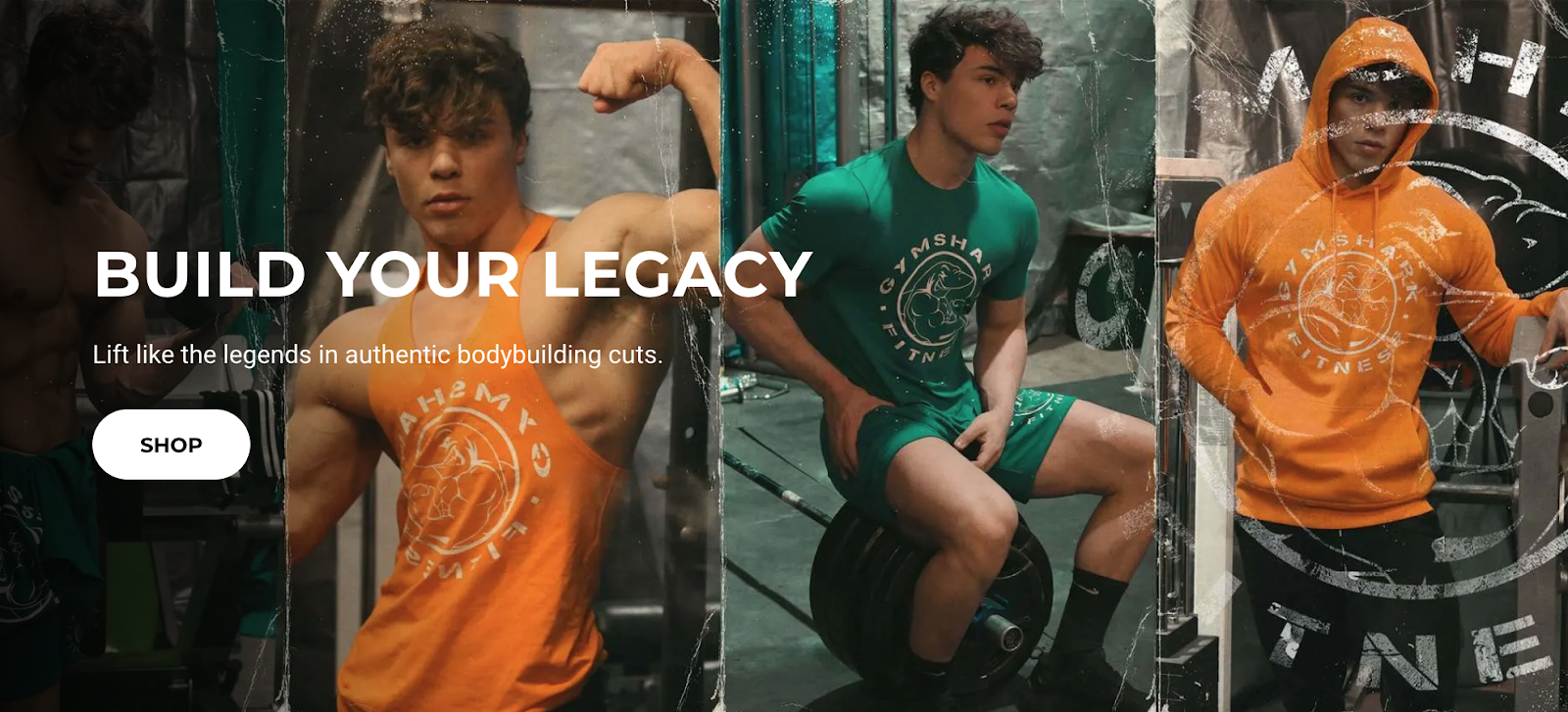 Gymshark homepage with three men working out in the background