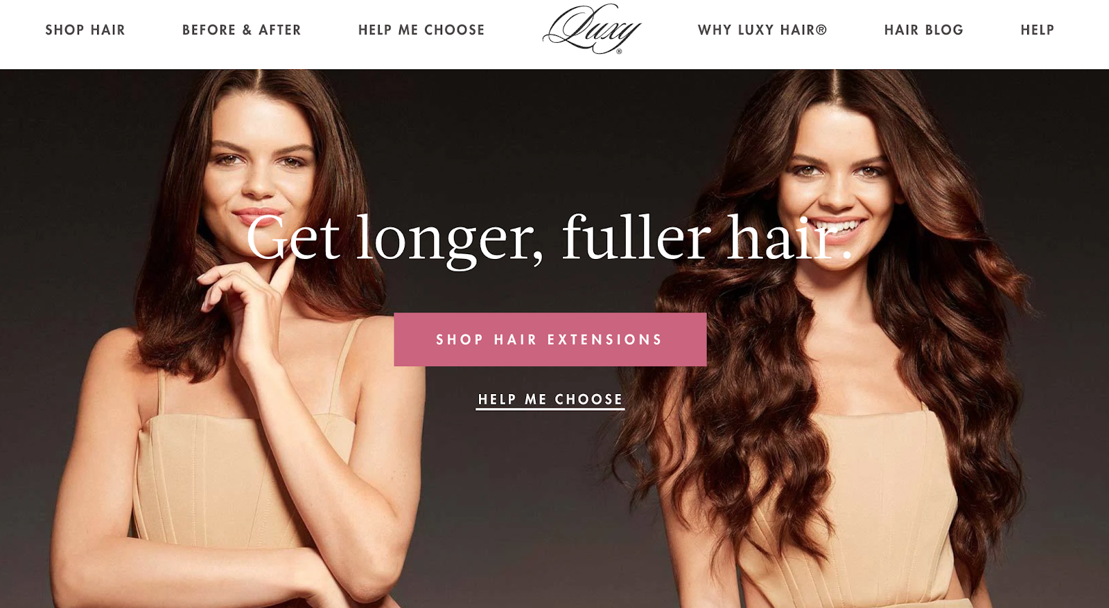 Luxy Hair homepage with before and after shots of Luxy extensions