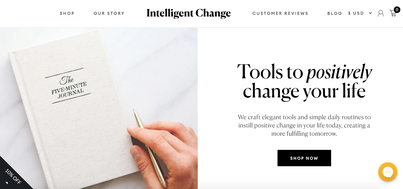 Intelligent Change homepage with The Five Minute Journal in the background