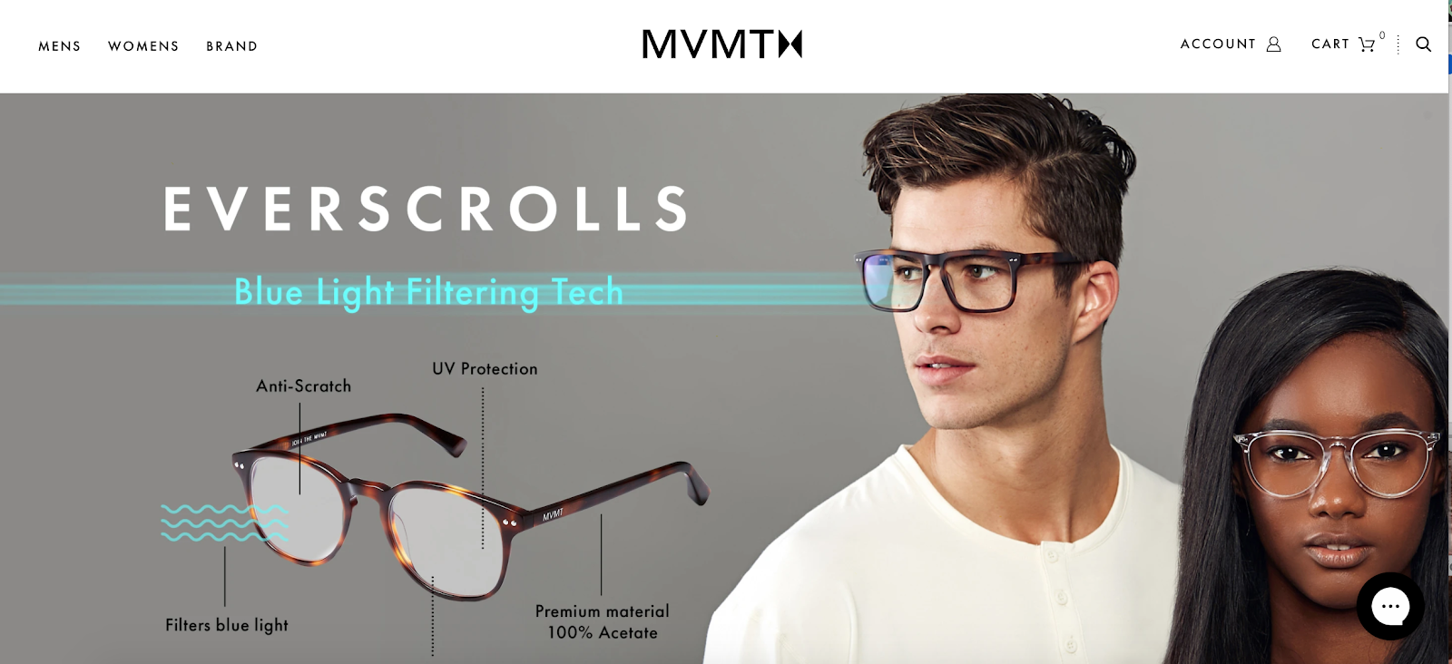 MVMT homepage with two people in glasses in the background