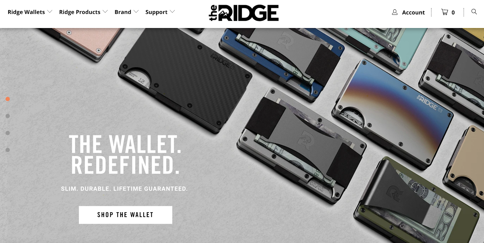 The Ridge homepage with Ridge Wallets in the background