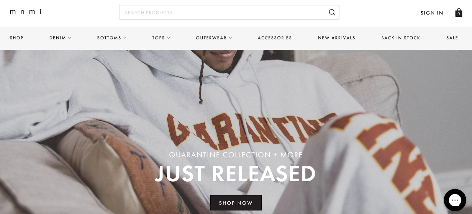 mnml homepage with man in sweatshirt in the background