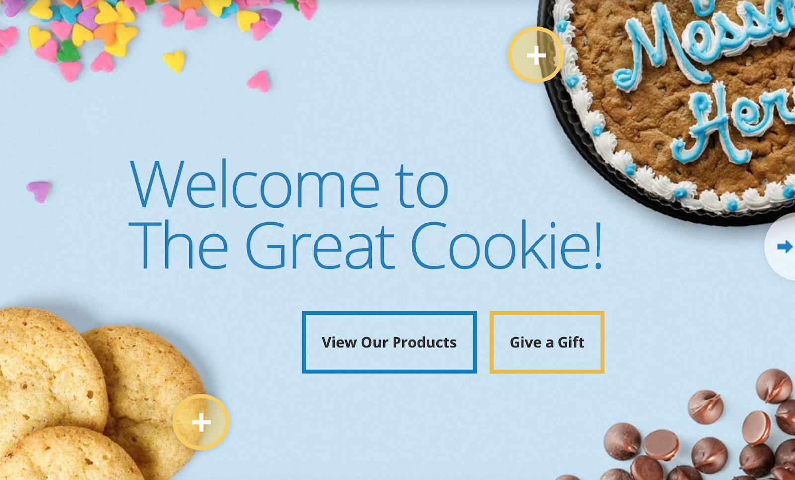 The Great Cookie homepage with cookie cake in the background