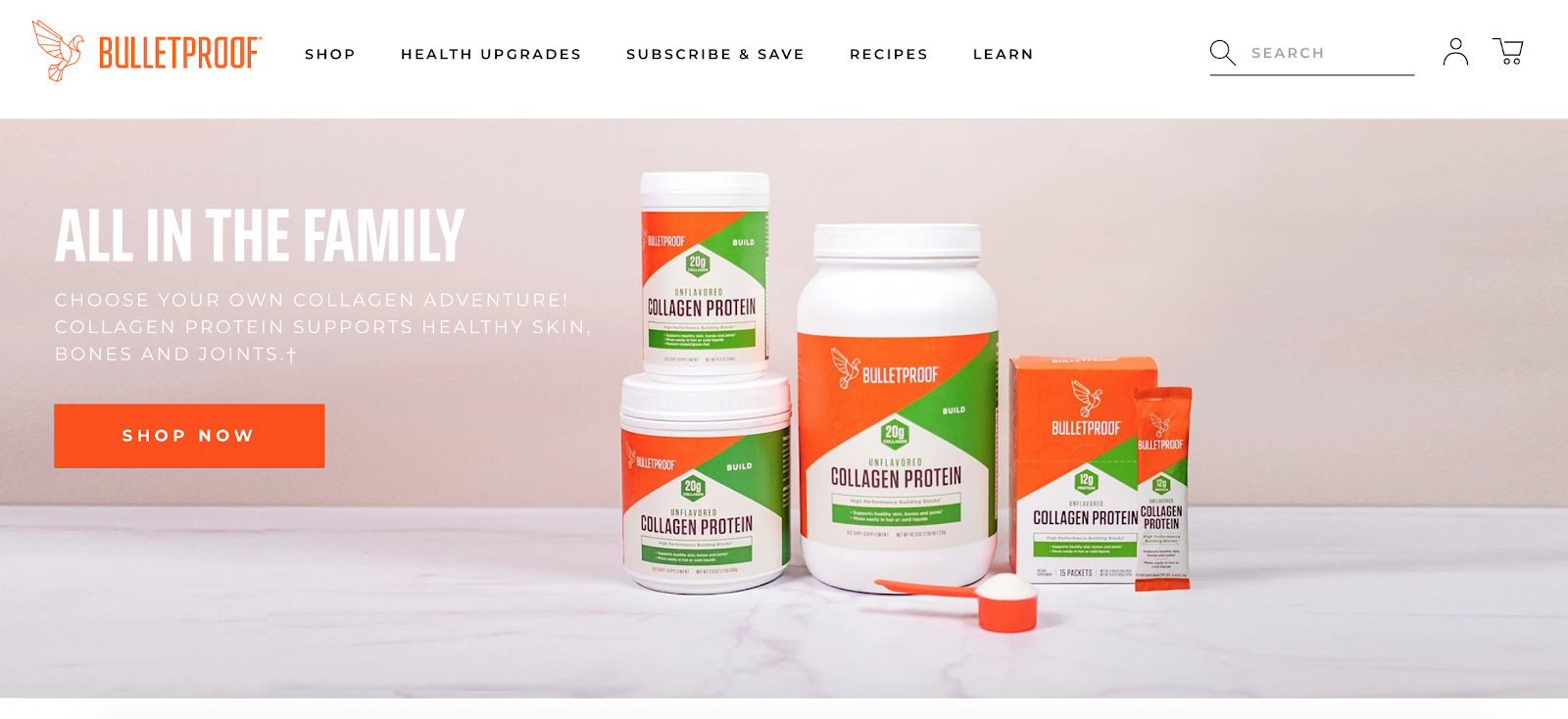 Bulletproof homepage with Bulletproof collagen protein in the background