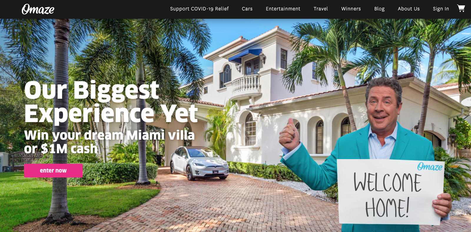 Omaze homepage with a man in front of a mansion