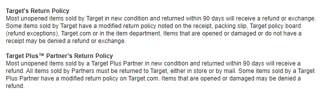 Target return policy