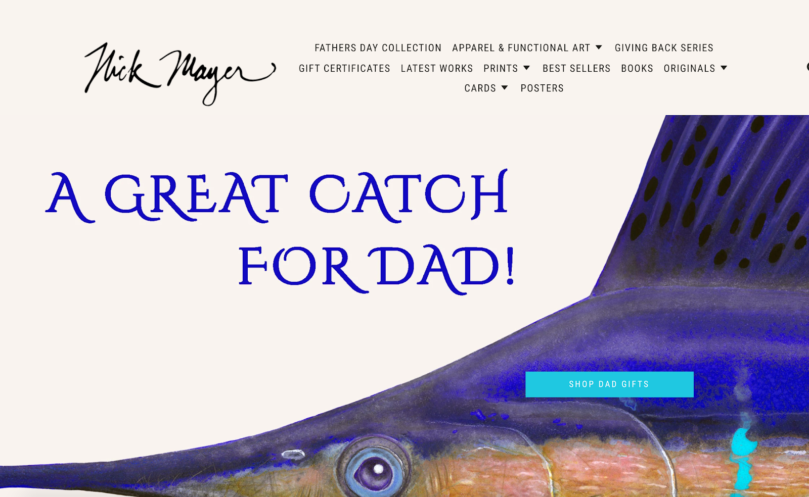Nick Mayer Art homepage with marlin fish in the background