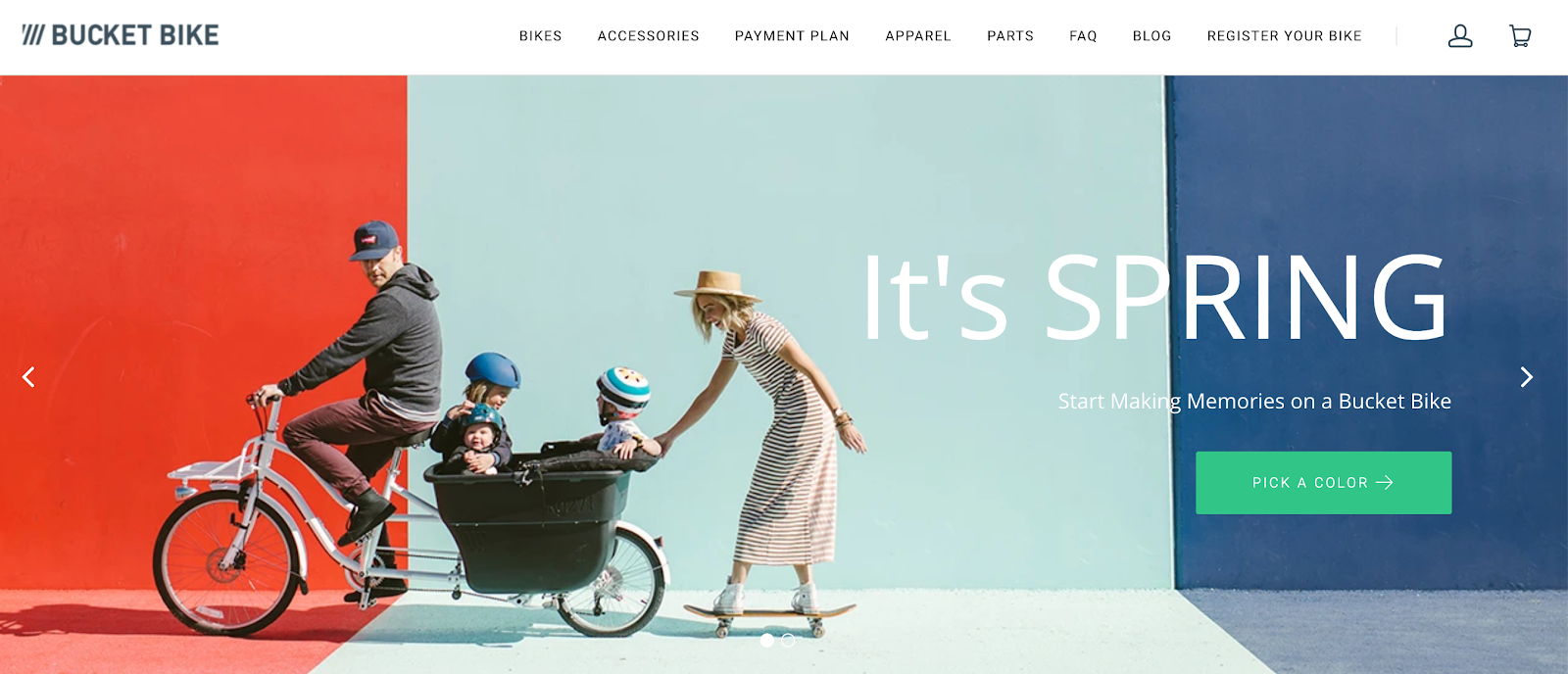 Madsen Cycles homepage with family in Madsen bike in background