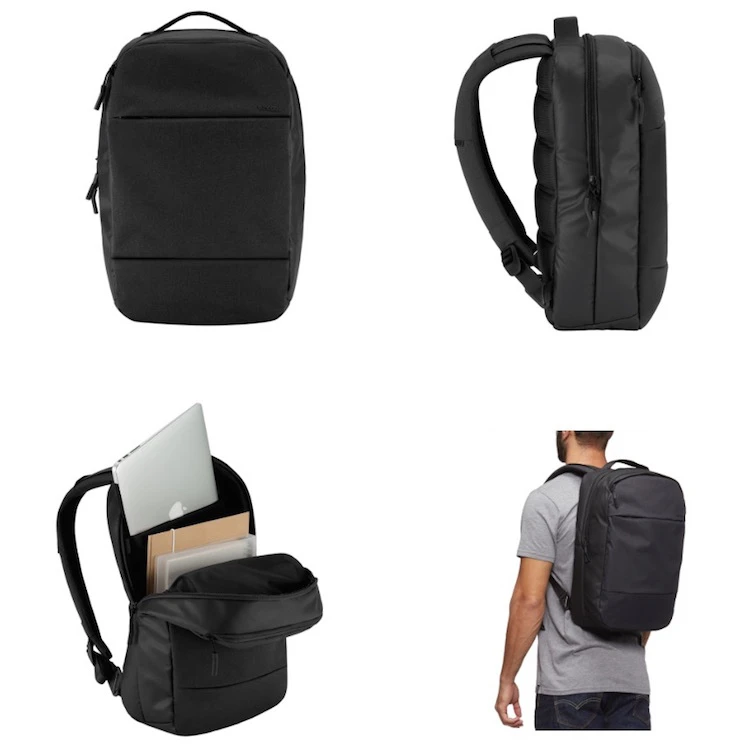 Multiple images of a black backpack from different angles and modeled on a person