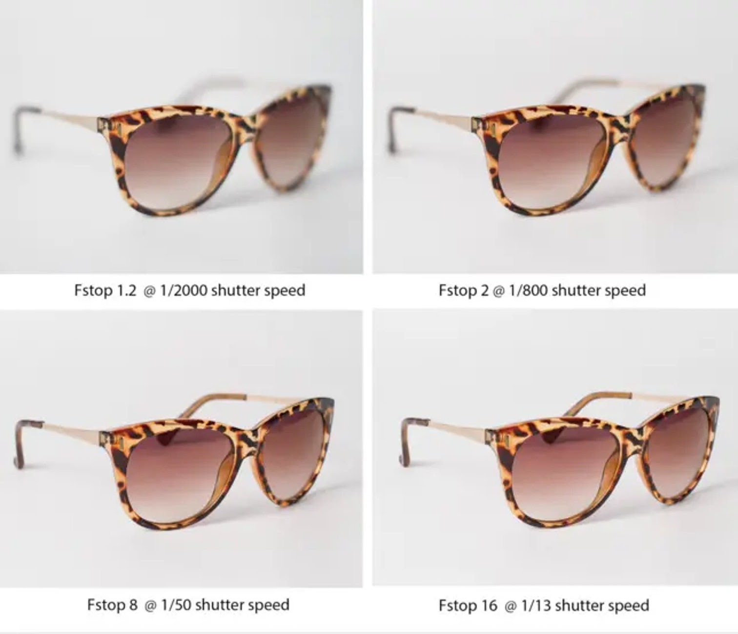 Multiple photos of sunglasses shot with different focus settings