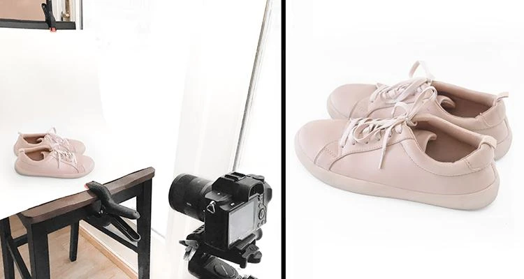 Side by side shots of photography setup for photographing pink sneakers next to professional photo of pink sneakers