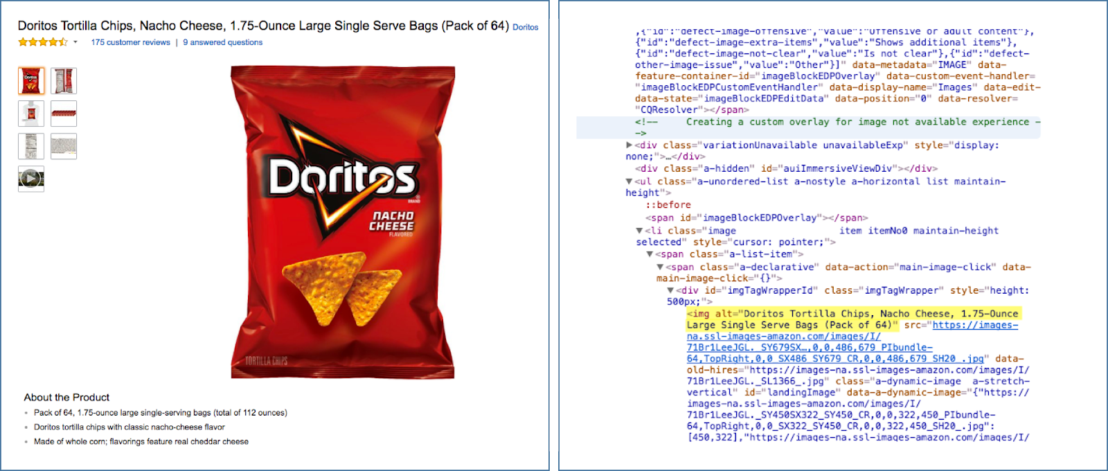 Left-hand side pictures a bag of Doritos, right-hand side pictures alternative text