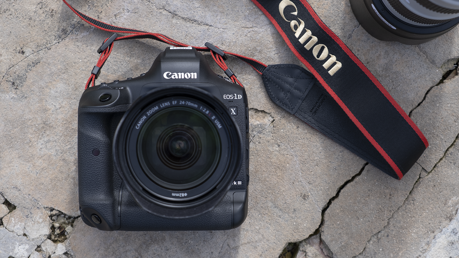Canon DSLR on pavement
